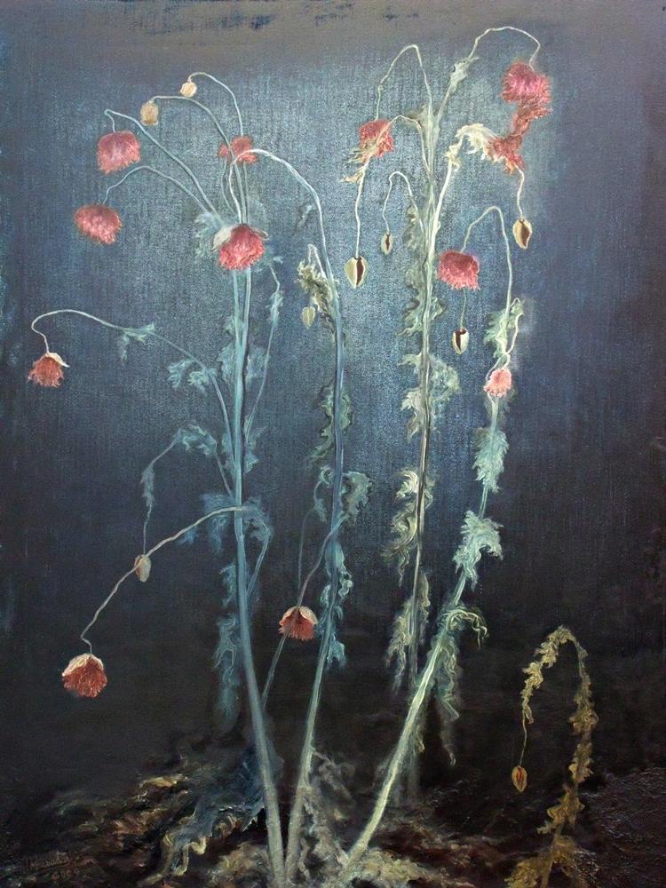 """""""Papaver 5. Papaver somniferum"""", óleo/lienzo, 81 x 100 cm"""