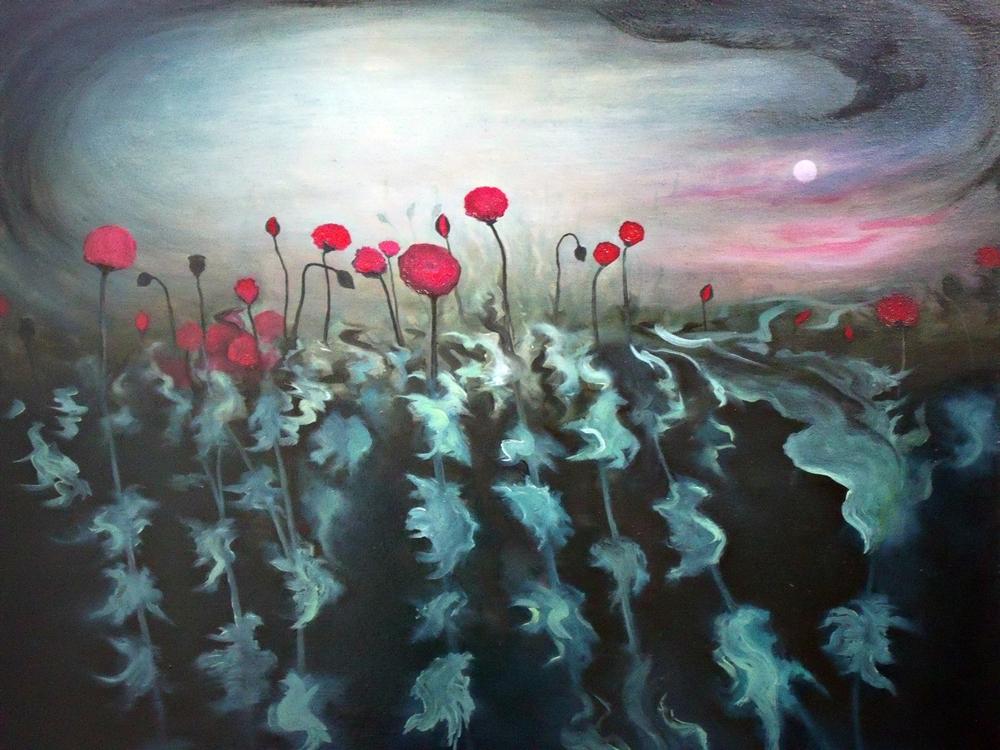 """""""Papaver 7"""", óleo/lienzo, 100 x 81 cm"""